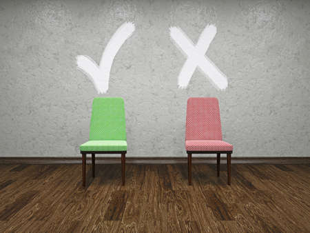 Two chairs with symbols of a choice Stock Photo - 20617229