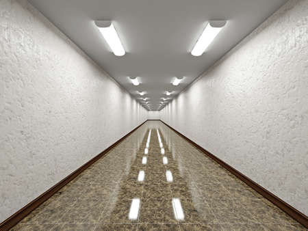 The empty long corridor with concrete wall Stock Photo - 20853457