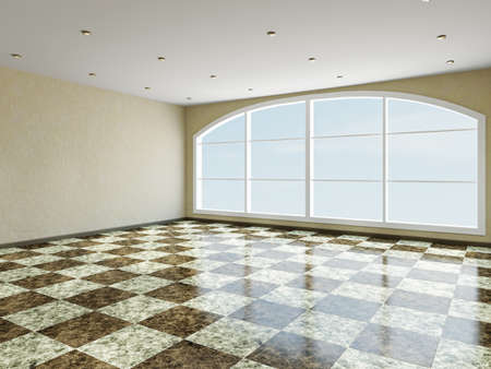 The big room with a panoramic window