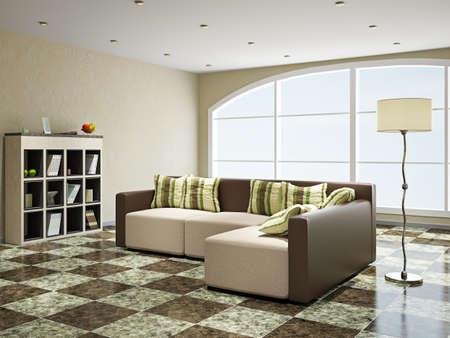 shiny floor: Sofa with pillows near the panoramic window Stock Photo