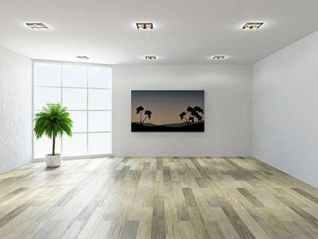 漆喰の壁と大きな窓と空の部屋