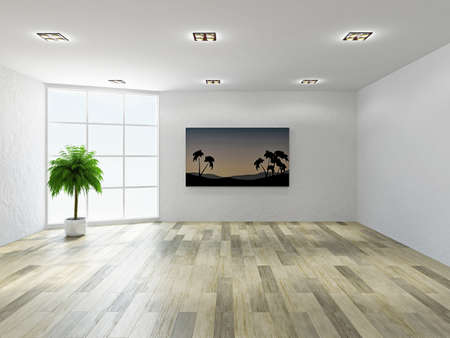 commercial painting: The empty room with stucco wall and a big  windows Stock Photo