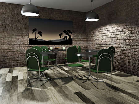 Cafe with brick wall and green tables photo