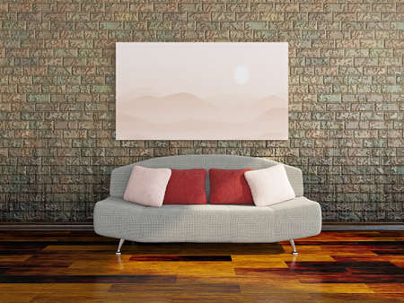 interior design living room: Sofa near a dirty brick wall Stock Photo