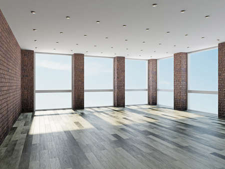The empty room with big  panoramic windows photo