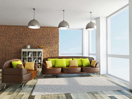 Sofa and armchair with pillows in the livingroom