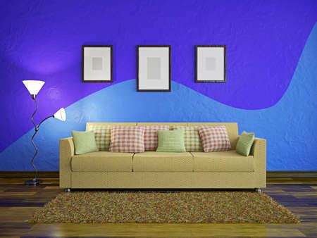 Lamp and yellow sofa near a blue wall photo