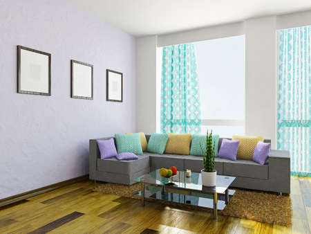 violet residential: Livingroom with a sofa and a glass table Stock Photo