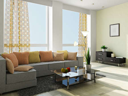 Livingroom with a sofa and a glass table Stockfoto