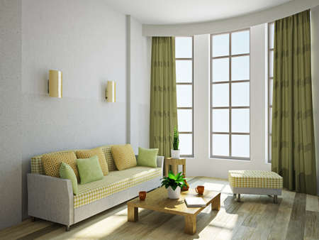 Livingroom with a sofa and a wooden table Stockfoto