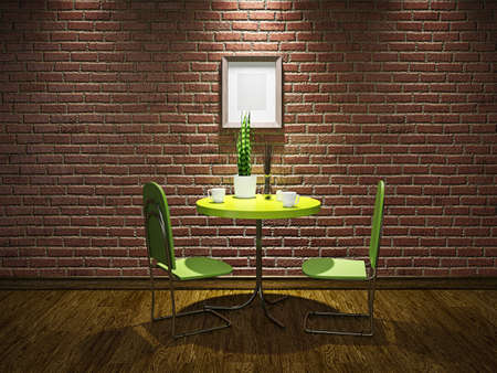Cafe with brick wall and green table photo