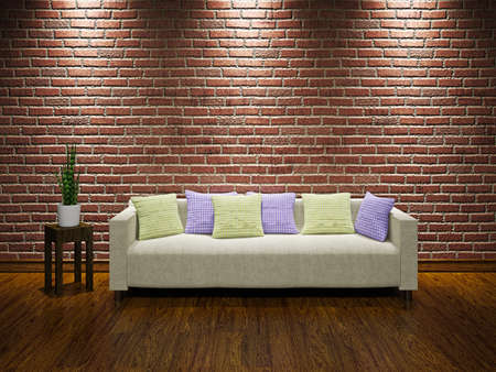 Livingroom  with sofa near the brick wall photo