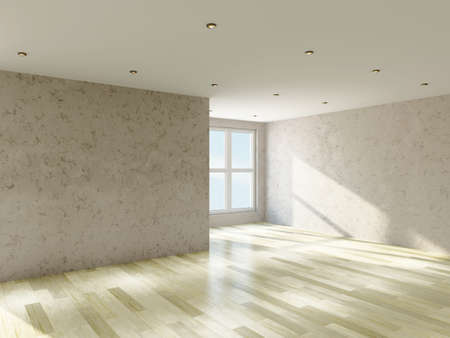 The empty room with plaster wall and a big  windows Stock Photo