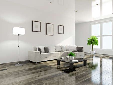 contemporary: Livingroom with a sofa and a wooden table Stock Photo