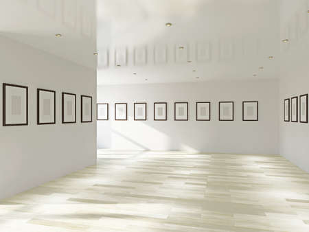 Gallery with blank pictures on the wall photo