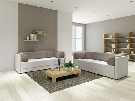 Sofas and a wooden table in the livingroom 스톡 콘텐츠