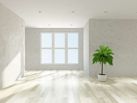 The empty room with plaster wall and a big  windows 스톡 콘텐츠