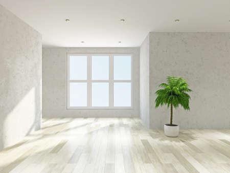석고 벽과 빈 공간과 큰 창