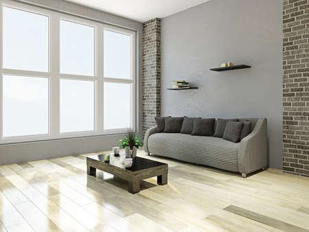 Sofa with pillows near the big window
