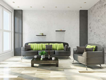 거실에있는 가죽 소파와 안락 의자