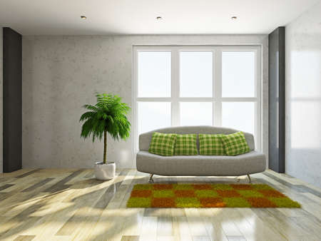 Sofa with green pillows near the window photo