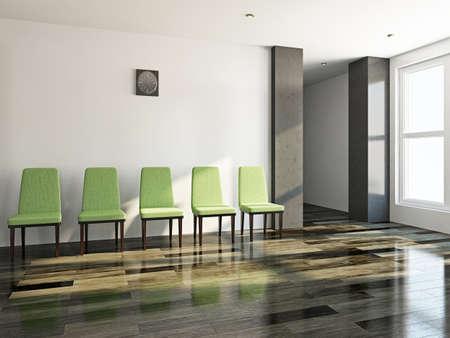 The green chairs  near a white wall