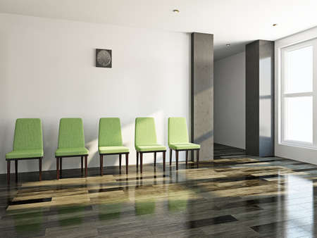 The green chairs  near a white wall Stock Photo - 21550667