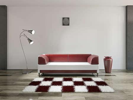 흰색 벽 근처 소파와 램프