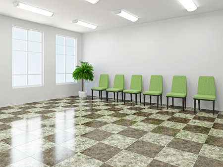 hotel hall: The green chairs  near a white wall