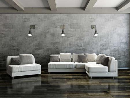 Sofa and armchair near the cement wall 스톡 콘텐츠