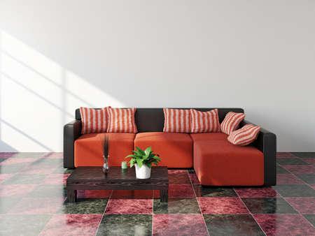 Livingroom  with sofa near the white wall Stockfoto