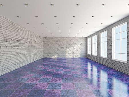 The big room with a panoramic  window  photo