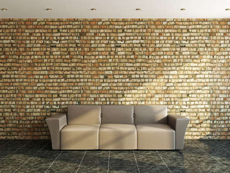 Sofa near a old brick wall photo