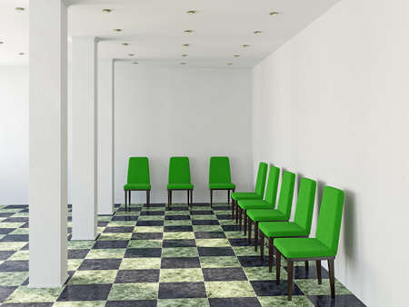 luxury hotel room: The green chairs  near a white wall