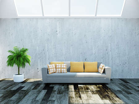 Sofa and palm near the cement wall