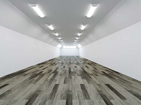 The empty long corridor with white wall photo