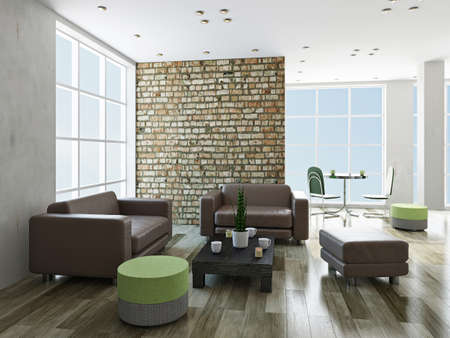 Livingroom with leather chairs and a table Stockfoto
