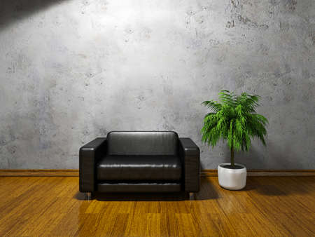 Black leather armchair  near the concrete wall Stock Photo - 22073391