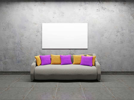 Sofa with pillows near the concrete wall Stock Photo - 22087294
