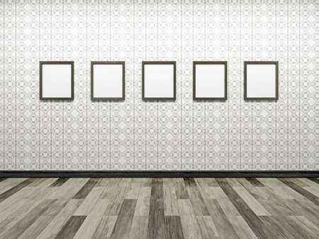 Gallery with blank pictures on the wall Stock Photo