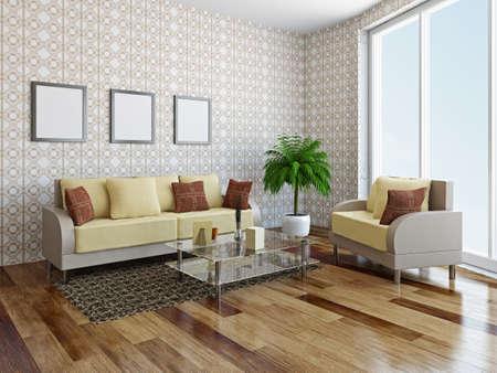 Sofa and armchair near a big window Stockfoto