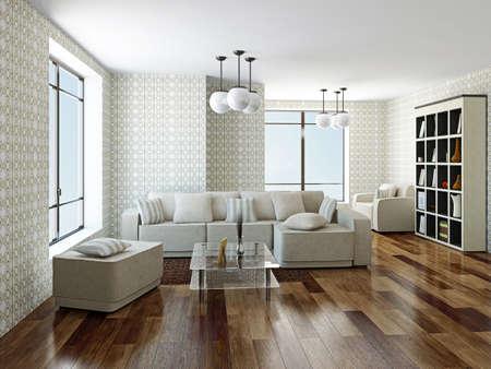 Sofa and armchair near a big window 스톡 콘텐츠