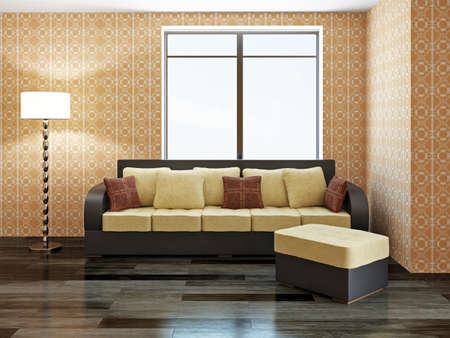 Sofa with yellow pillows near a window Stock Photo - 22189558