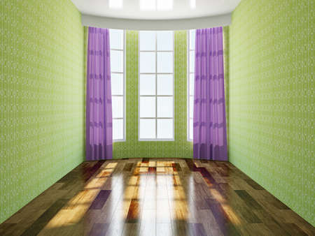 The green empty room with windows photo