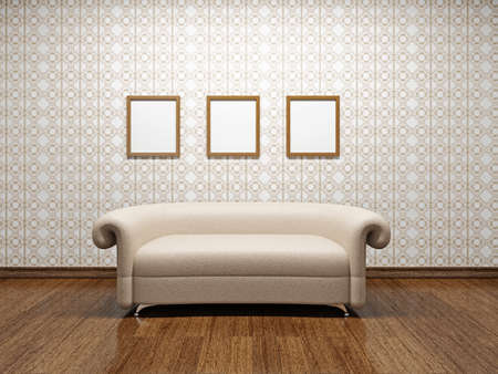 Beige leather sofa near a wall photo