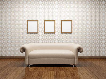 Beige leather sofa near a wall Stock Photo - 22252178