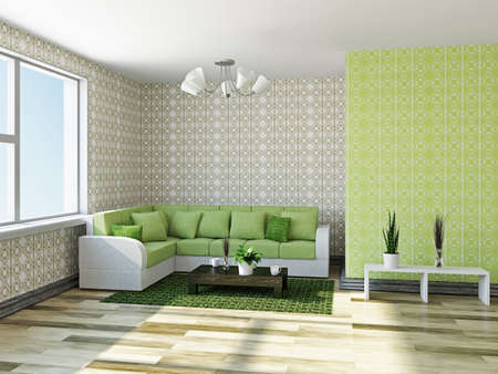 Sofa with green pillows near a wall Stock Photo - 22252181