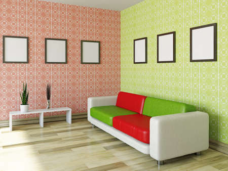 Sofa with red and green pillows near a wall Stock Photo - 22252182