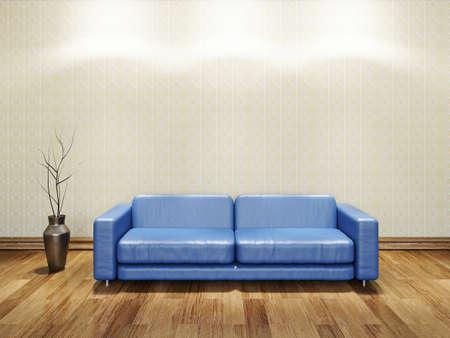 blue leather sofa: Divano blu in pelle nei pressi di un muro