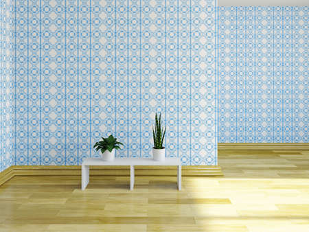 The empty room with blue wallpaper photo